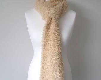 GetWoolly cream, oatmeal, soft, fluffy, fleecy hand knitted, long scarf with tassels, fringe