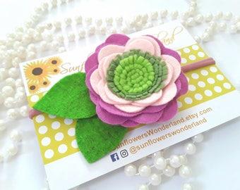 Flower baby headband - Baby girl Headband - purple headband flower - Girl flower felt hairband