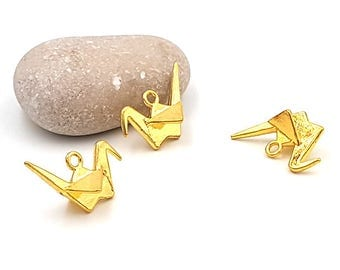 20 charms crane origami color gold plated 27mm