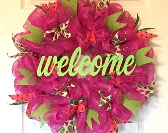 Summer Watermelon Wreath/Pink and Green Watermelon Mesh Wreath
