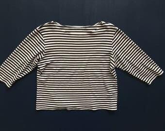 Navy and White Stripe Cotton Top 3/4 Sleeve Women's M/L