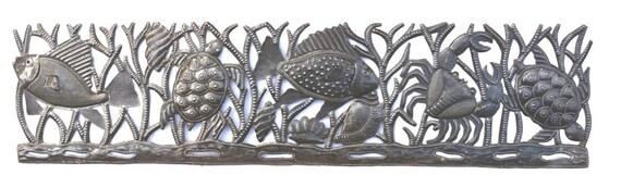 """Haitian Metal Art, Sea Turtle, Fish and Crab, Ocean wall hanging 8"""" x 32.5"""