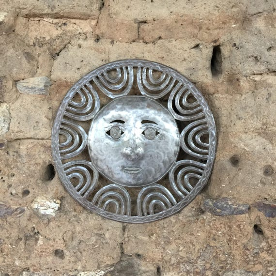 "Metal Sun Wall Sculpture, Outdoor Decor, Recycled Metal Art, Haiti Fair Trade, 13"" x 13"""