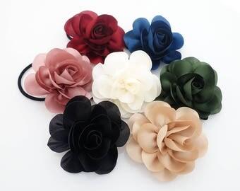 Handmade Mini Flower Hair Elastic Ponytail Holder Women Flower Hair Accessory