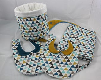 Set of 4 pieces for baby graphic mustard and blue duck.