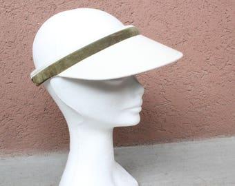 Vintage Visor Cap - White and Green Golf Visor Hat