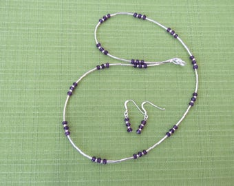 Genuine Amethyst necklace with matching earrings set