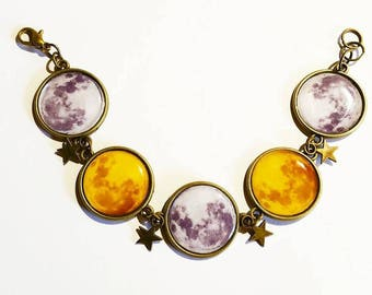 Bracelet cabochons: Moon and Star