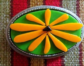 Black-Eyed Susan Fised Glass Buckle - Large