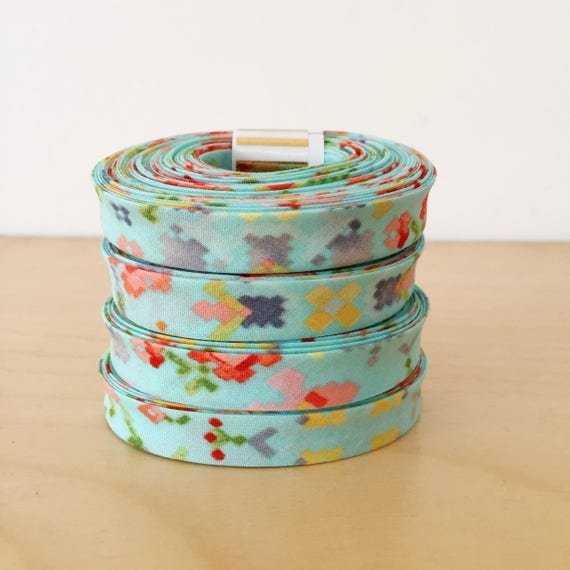 "Bias Tape- Kaufman Woodland Clearing Digital Pixel Cross Stitch Floral in Aqua 1/2"" double-fold binding- 3 yard roll"