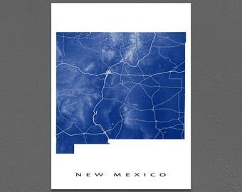 New Mexico Map Print, New Mexico State Art, Albuquerque, NM