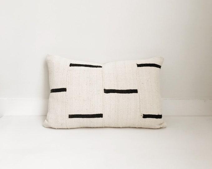 African Mudcloth Boho Pillow, Cover, Ethnic, Handwoven, Cream