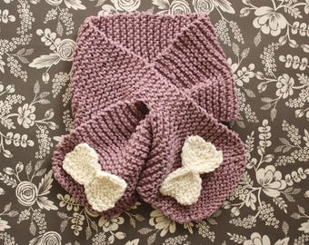 SALE! 25% OFF! Dusty Lavender Scarf with Stay Put Opening. Baby Scarf. Bow Scarf. Purple Scarf. Hand Knit Scarf. Knit Baby Scarf. Bows.