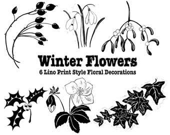 Winter Flowers Lino Print Style Clip Art