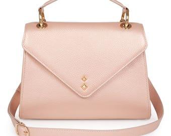 Leather Top Handle Bag, Beige Leather Handbag Top Handle, Women's Leather Bag KF-1163