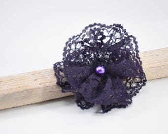 Purple flower lace on hair clip