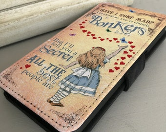 Alice in Wonderland Phone Case - iPhone Samsung Leather Wallet Flip Cover - Alice Bonkers Hearts