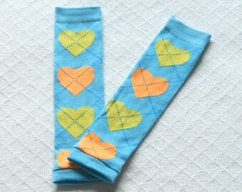 Aqua argyle Blue Baby toddler leg warmers girl boy with hearts, baby legwarmers, child kids leg warmers, baby leggings, baby boot socks