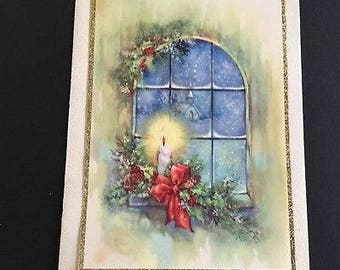 Vintage Christmas greeting card, candle in window, gold foil, Doehla
