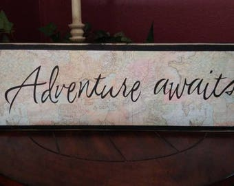 Homemade Black Map Sign, Map sign, Wood sign, Homemade wood sign, adventure sign, travel sign