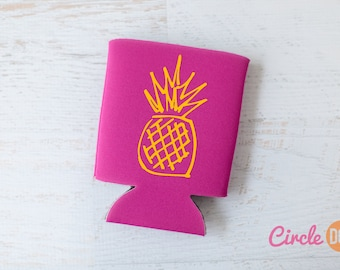 Pineapple Beer Can KOOZIE® - Personalized Soda Can Hugger for beach vacation, bachelorette party, girls trip vacation, white elephant gift
