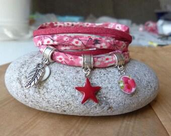 """Raspberry"" bracelet-star, leaf and cabochon raspberry"