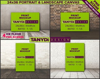 24x36 Canvas Photoshop Print Mockup CF11 | 4 PNG Scenes | Portrait & Landscape Canvas on Wood floor