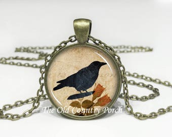 Crow with Rose-Glass Pendant Necklace/Graduation gift/mothers day/bridal gift/Easter gift/Gift for her/girlfriend gift/friend gift/birthday