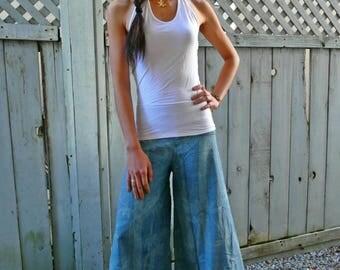 Vintage blue bamboo leaves wide leg pants