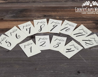 Calligraphy Table Number Prints ~ Table Number Set ~ Wedding Table Numbers ~ Event Table Numbers ~ Rustic Wedding Table Numbers