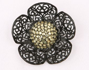 """1940 Art Deco Japanned Open Work 3D Petaled Flower Brooch, Rhinestone Dome Pave Center, Excellent VTG Cond., Roll Over Clasp, 2-13/16"""" W."""