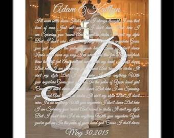 Wedding song gift, wedding song lyric art, custom song lyrics, gift for him, anniversary, personalised song art