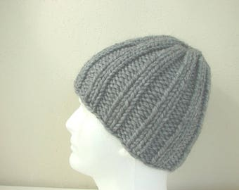 Hand knit mens hat gray, warm comfortable winter hat, no seams, thick alpaca acrylic gray men beanie, women chunky knit hat, free shipping