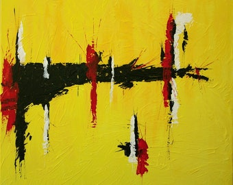 Large Abstract Acrylic Painting Red Painting Yellow Painting Black Painting Modern Art Contemporary Art