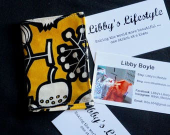 Credit card holder - Business card wallet - Yellow Flowers Credit card wallet - Small - Handmade.