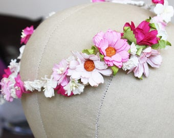 Bridesmaids flower crown, soft pink flower crown, wedding halo, bridal flower wreath, flower circlet, festival flowers, flower girl crown