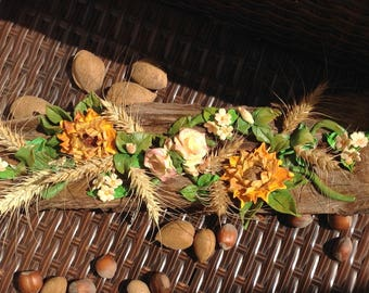Sunflower, Made in Tuscany, centerpiece, sunflowers, flowers, wheat, ear of corn, bark, Wood bark, wood