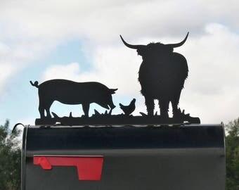 Highland Cow Hog and Chicken Metal Mailbox Topper, Metal Highland Cattle Mailbox Top, Ranch Mailbox Top, Hobby Farm Mailbox, Hobby Farm Sign