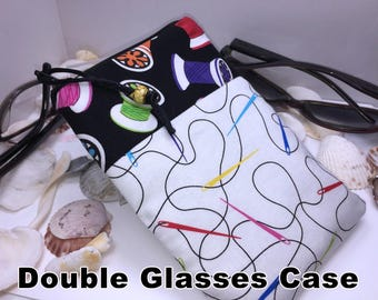 Sewing Double Glasses Case, Zip Top Double Glasses Pouch Sunglasses Pouch, Eyeglasses Zipper Case, Soft Glasses Case