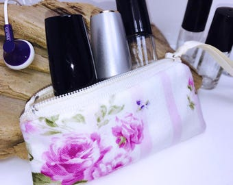 Super Feminine Lipstick Case, Roses Victorian Essential Oil Bag, Shabby Small Zipper Pouch, Lip Balm Case, USB Case, Doterra Oil Storage