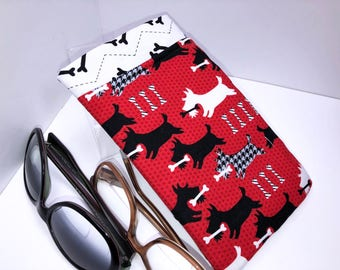 SCOTTISH TERRIER Double Eyeglass Case, Double Pocket Sunglasses Pouch, 2 Pocket Eyeglasses Case, Eyeglasses Organizer