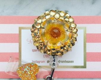 Gold Flower ID badge Holder clip
