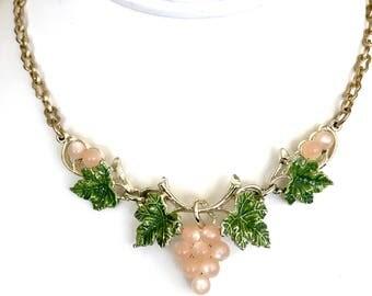 Moonglow Lucite Necklace, Pink Green Grape Cluster Leaf Design, Green Enamel, Gold Plated, Link Choker, Vintage 1950s, Vintage Lucite