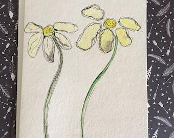 Hand Painted Daisy Card, Watercolor Daisy Card, Homemade Daisy Card