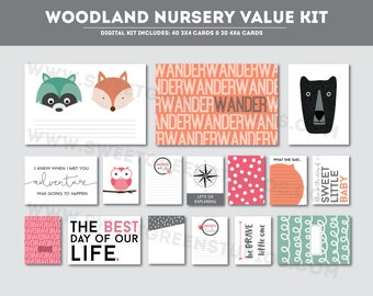 Woodland Nursery - Printable Scrapbook Cards (Project Life)