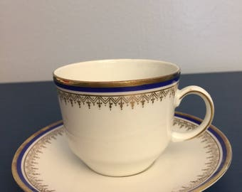 Vintage Bareuther Waldsassen Bavaria Demitasse white, blue and gold cup and saucer