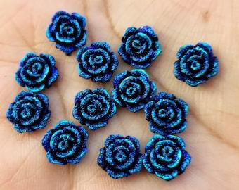 Metallic blue 10mm Faux Druzy flower Cabochons 10pcs -