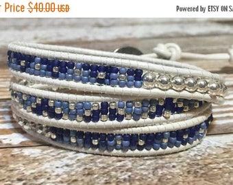 SUMMER SALE White Chan Luu Style Wrap Bracelet / Healing Crystal Bracelet / Chan Luu Bracelet / Chakra Bracelet