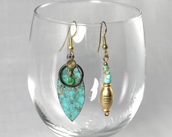 Mismatched Vintage Turquoise & Gold Earrings