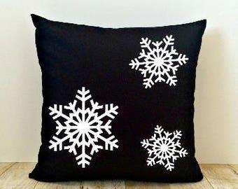 Snowflake Pillow Cover, Black, Christmas, Happy Holidays, Winter, Xmas